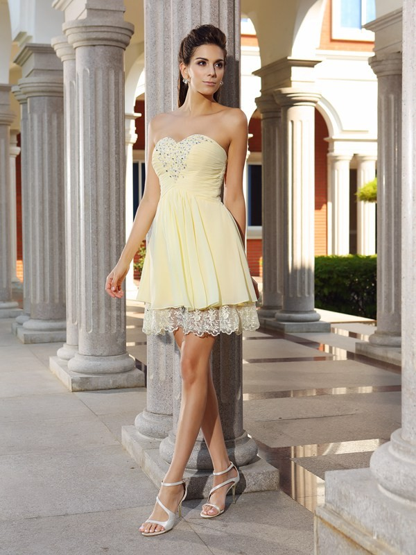 Pleased to be Me Princess Style Sweetheart Beading Short Chiffon Cocktail Dresses