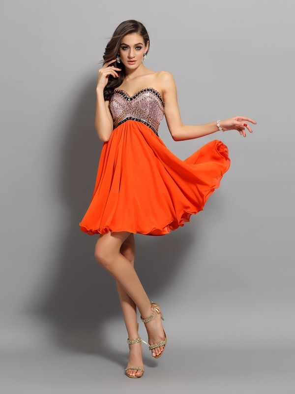 Fabulous Fit Princess Style Sweetheart Ruffles Short Organza Cocktail Dresses
