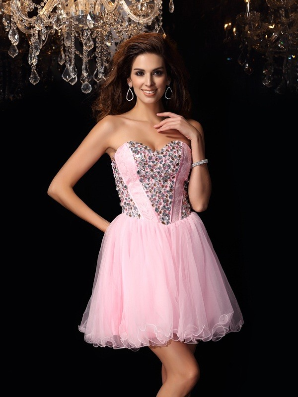 Yours Truly Princess Style Sweetheart Ruffles Short Elastic Woven Satin Cocktail Dresses