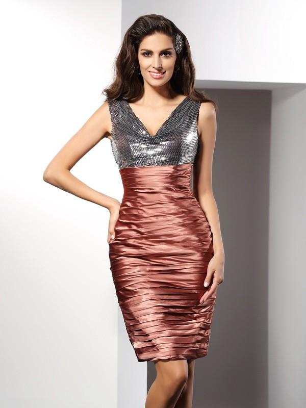 Fresh Picks Sheath Style V-neck Short Silk like Satin Cocktail Dresses
