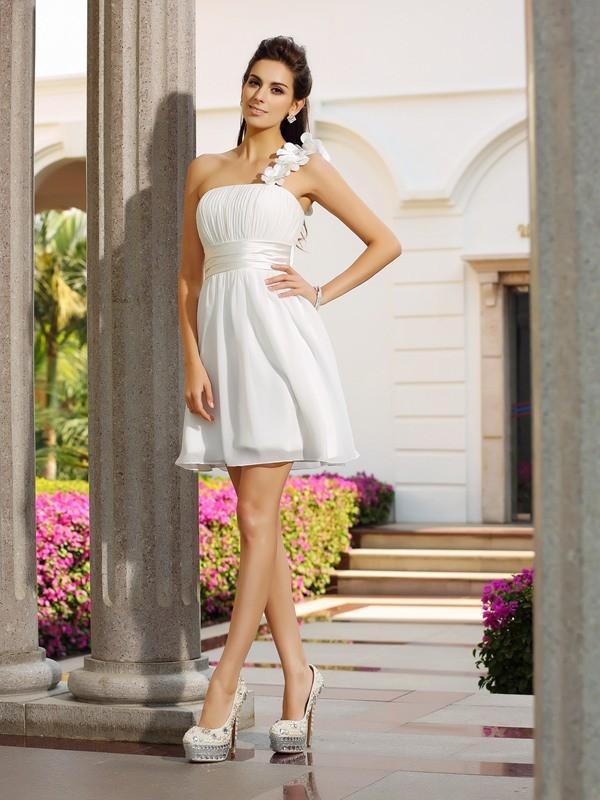Dashing Darling Princess Style One-Shoulder Hand-Made Flower Short Chiffon Cocktail Dresses