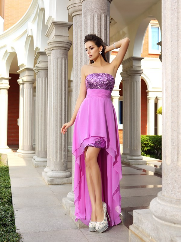 Eye-Catching Charm Princess Style Strapless Beading High Low Chiffon Cocktail Dresses