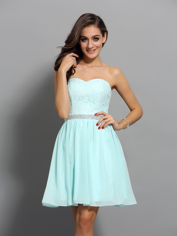 Aesthetic Honesty Princess Style Sweetheart Beading Short Chiffon Cocktail Dresses