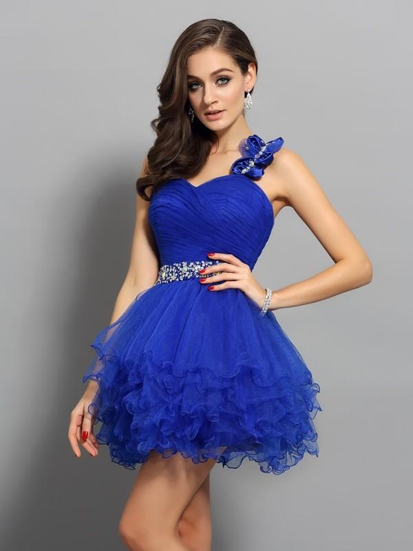 Pleasant Emphasis Princess Style One-Shoulder Beading Short Organza Cocktail Dresses