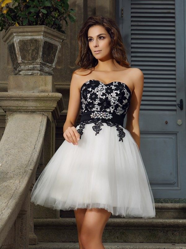 Treasured Reveries Princess Style Sweetheart Applique Short Tulle Cocktail Dresses