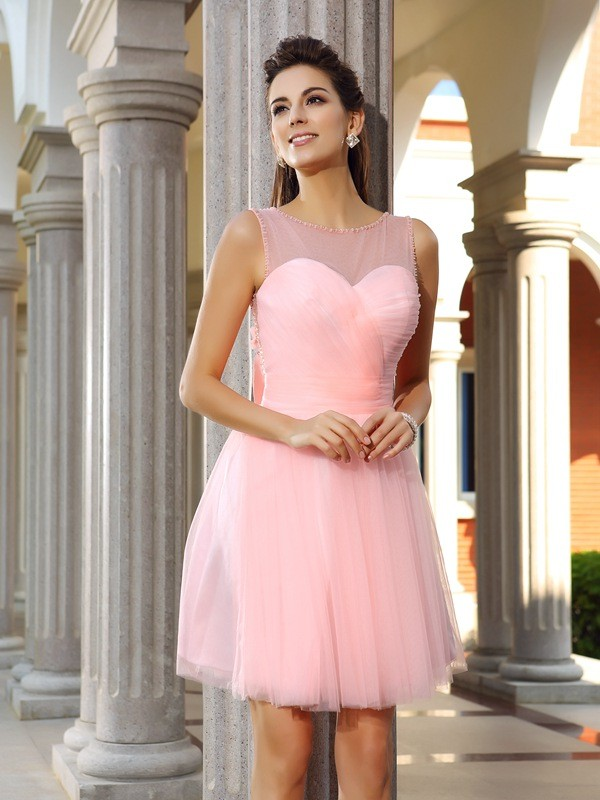 Comfortably Chic Princess Style Scoop Beading Short Satin Cocktail Dresses