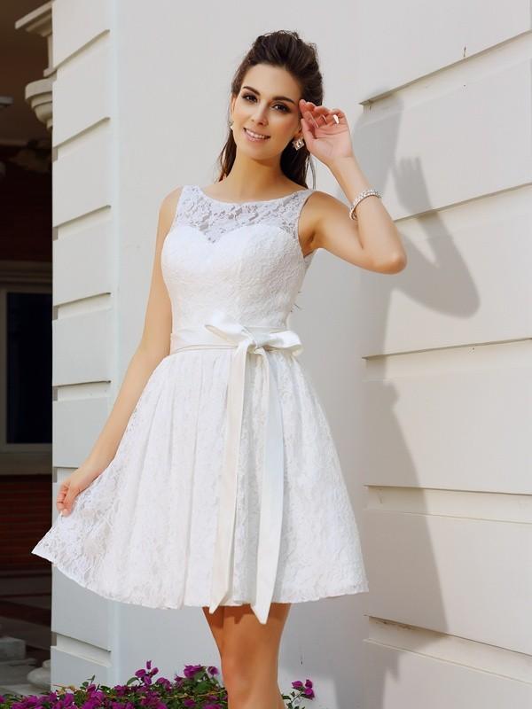 Efflorescent Dreams Princess Style Scoop Sash/Ribbon/Belt Short Lace Cocktail Dresses