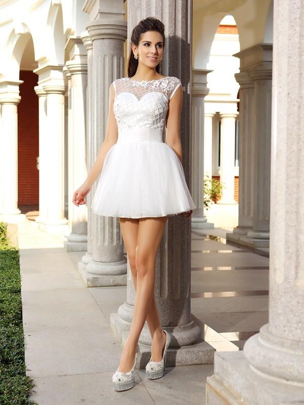 Voiced Vivacity Princess Style Scoop Beading Short Satin Cocktail Dresses