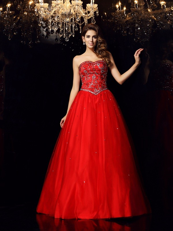First Impressions Ball Gown Sweetheart Beading Long Satin Quinceanera Dresses