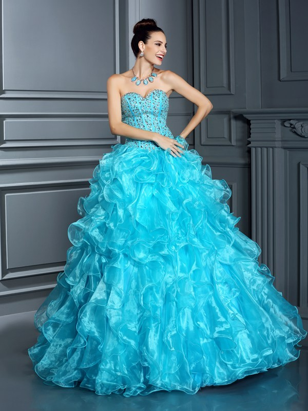 Confident Option Ball Gown Sweetheart Beading Long Organza Quinceanera Dresses