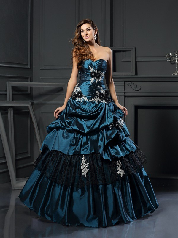Visual Moment Ball Gown Sweetheart Beading Long Taffeta Quinceanera Dresses