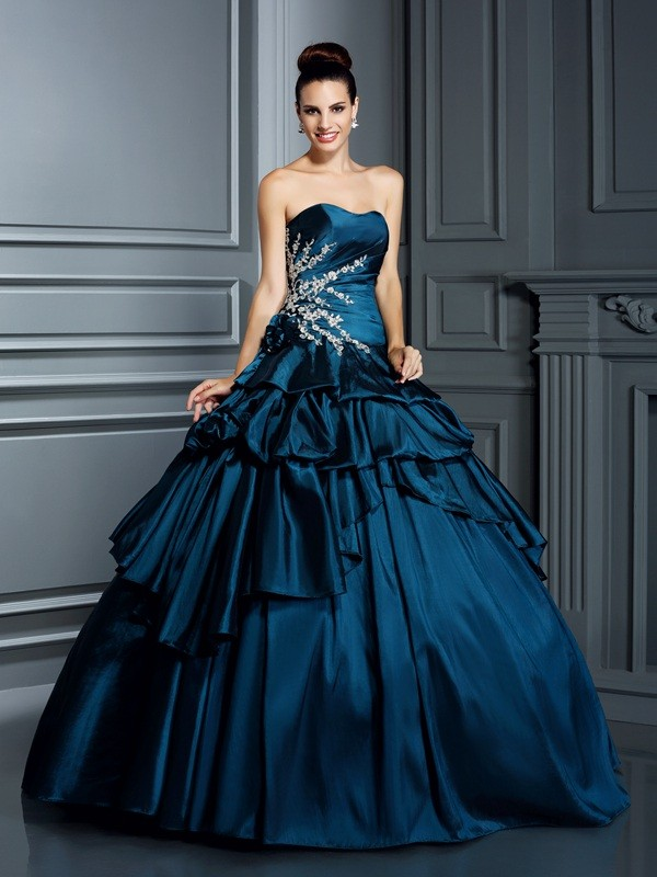 Memorable Magic Ball Gown Strapless Beading Long Taffeta Quinceanera Dresses