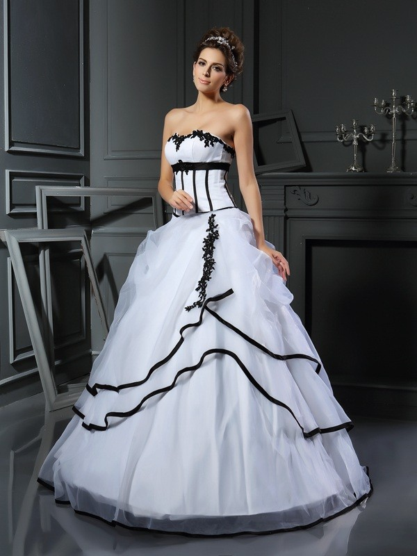 Just My Style Ball Gown Sweetheart Applique Long Satin Wedding Dresses