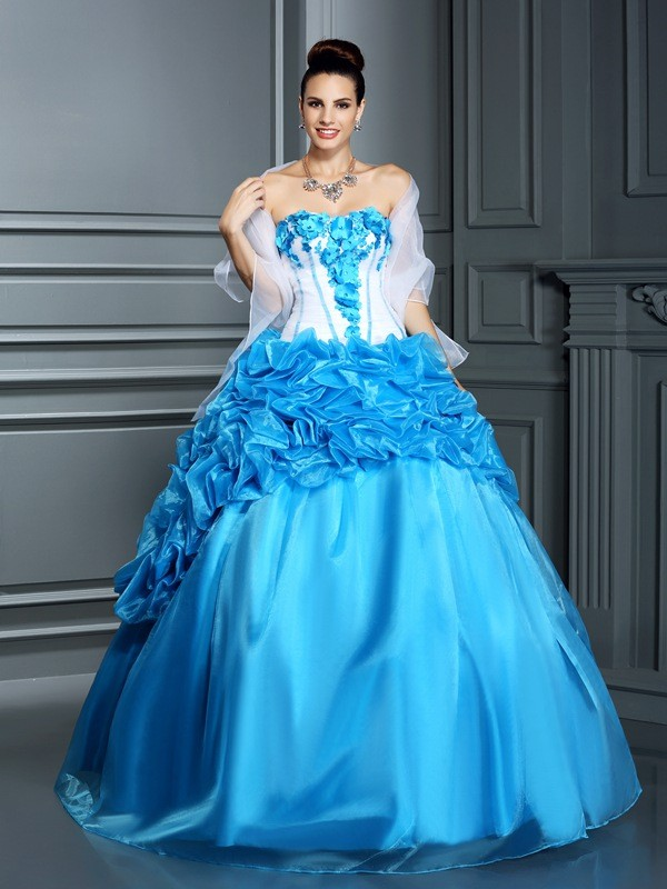 Romantic Vibes Ball Gown Sweetheart Ruffles Long Satin Quinceanera Dresses