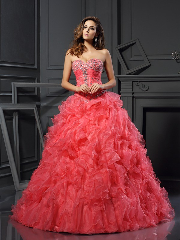 Fresh Picks Ball Gown Sweetheart Ruffles Long Organza Quinceanera Dresses
