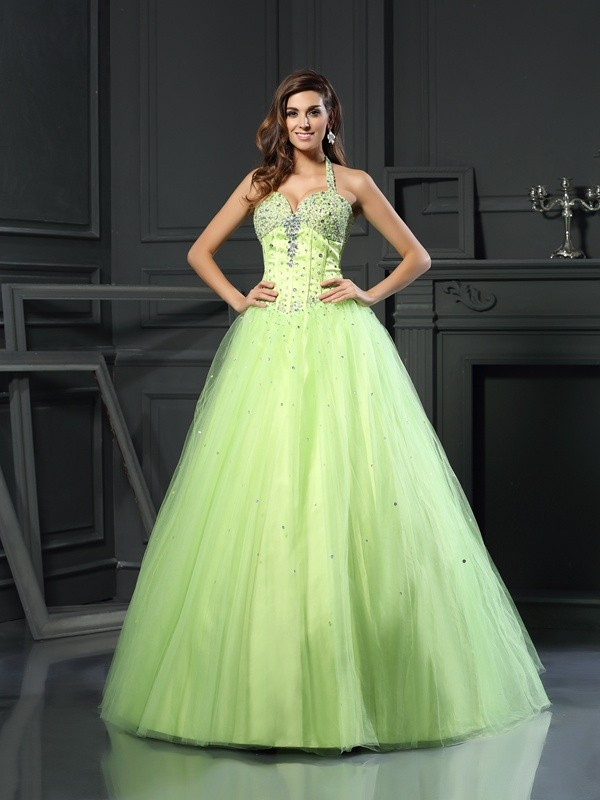 Easily Adored Ball Gown Halter Beading Long Satin Quinceanera Dresses