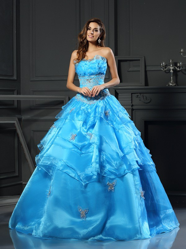 Embracing Grace Ball Gown Sweetheart Beading Long Organza Quinceanera Dresses