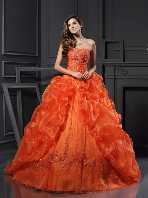 Dashing Darling Ball Gown Sweetheart Beading Long Organza Quinceanera Dresses