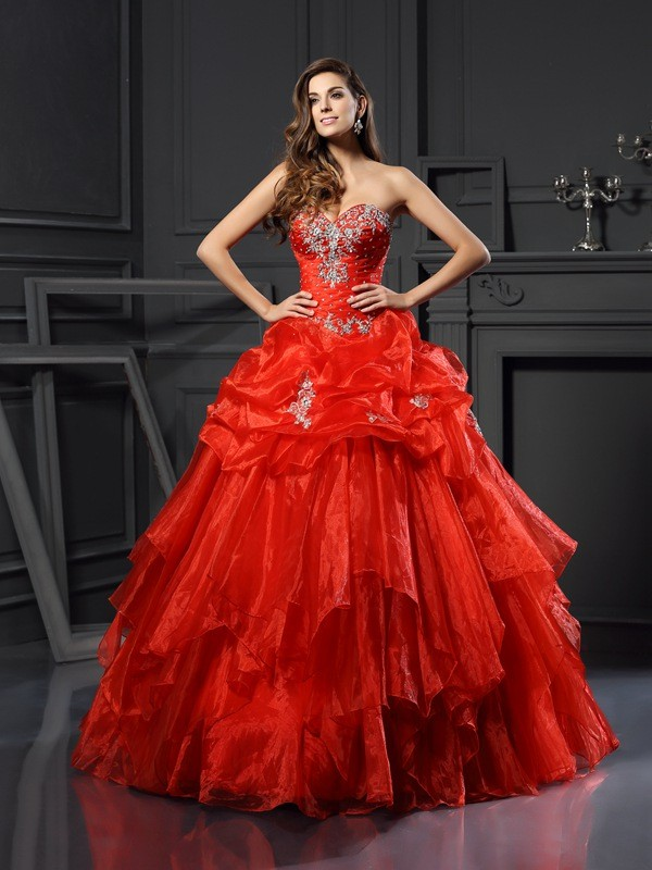 Befits Your Brilliance Ball Gown Sweetheart Beading Long Tulle Quinceanera Dresses