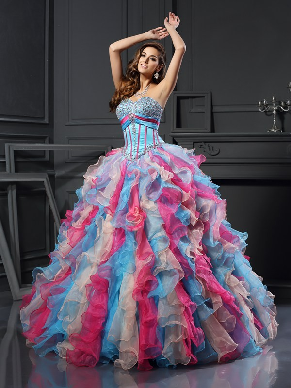 Modern Mood Ball Gown Sweetheart Beading Long Organza Quinceanera Dresses