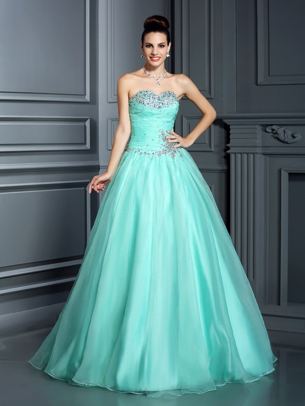 Eye-Catching Charm Ball Gown Sweetheart Beading Long Organza Quinceanera Dresses