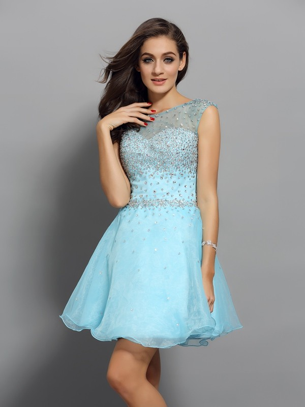 Aesthetic Honesty Princess Style Scoop Beading Short Organza Cocktail Dresses
