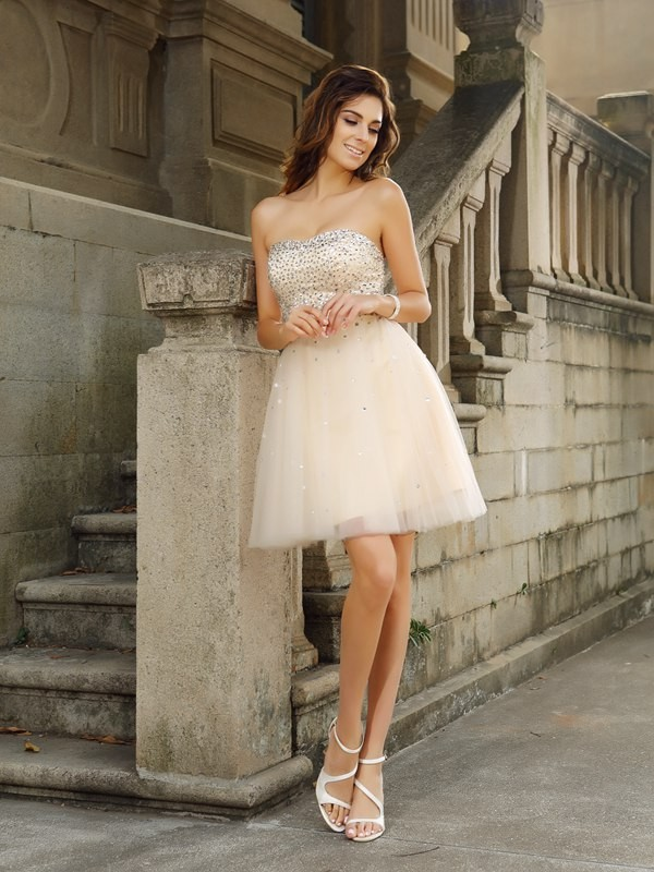 Pleasant Emphasis Princess Style Strapless Beading Short Satin Cocktail Dresses