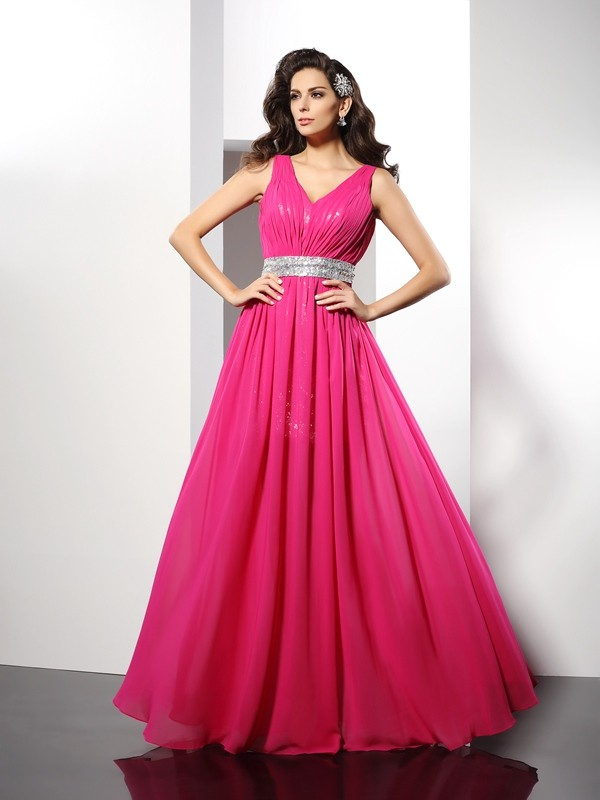 Limitless Looks Princess Style V-neck Paillette Long Chiffon Dresses