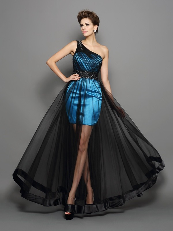 Dancing Queen Princess Style One-Shoulder Ruched Long Elastic Woven Satin Dresses