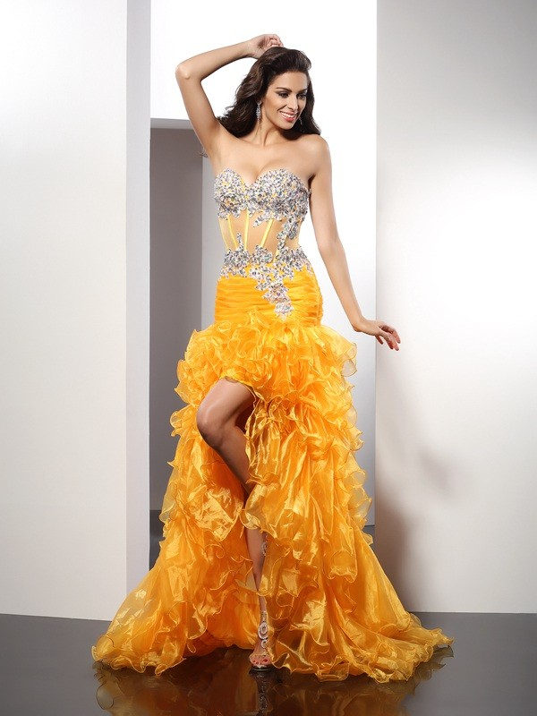 Vibrant Stylist Sheath Style Sweetheart Beading High Low Organza Dresses