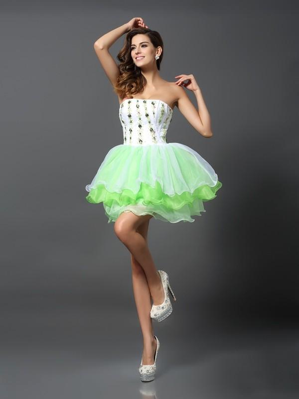 Romantic Vibes Princess Style Strapless Ruffles Short Organza Cocktail Dresses