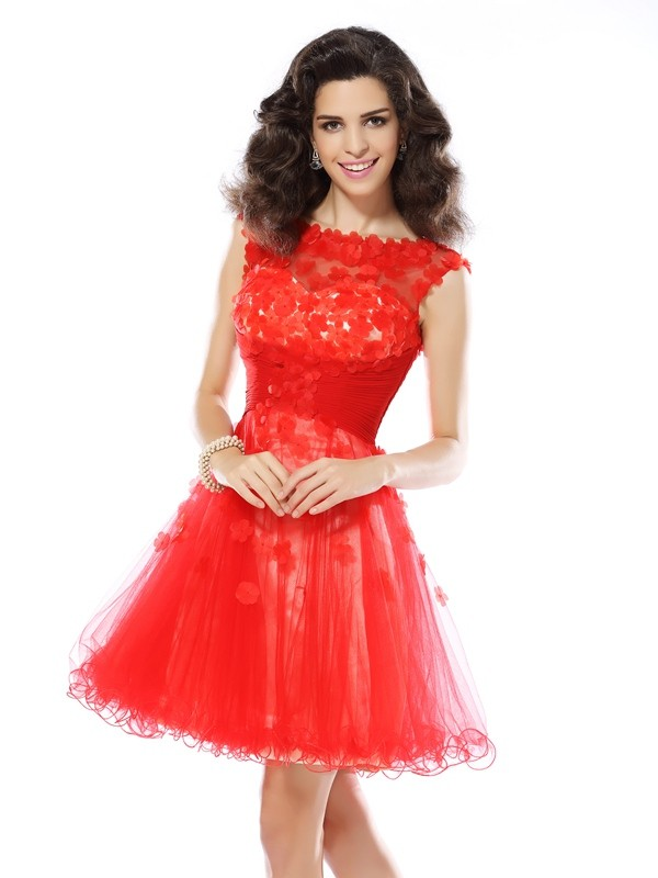 Beautiful You Princess Style Scoop Applique Short Elastic Woven Satin Cocktail Dresses