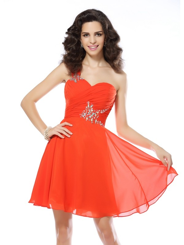 Befits Your Brilliance Princess Style One-Shoulder Beading Short Chiffon Cocktail Dresses