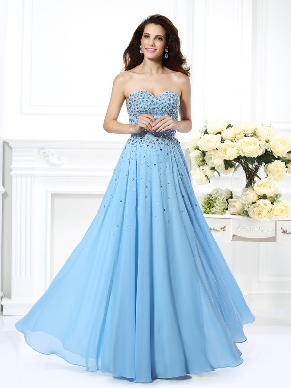 Absolute Lovely Princess Style Sweetheart Beading Long Chiffon Dresses