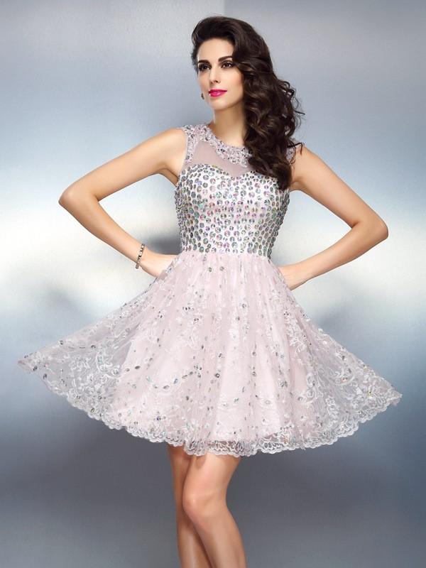 Pleasant Emphasis Princess Style Bateau Beading Short Satin Cocktail Dresses