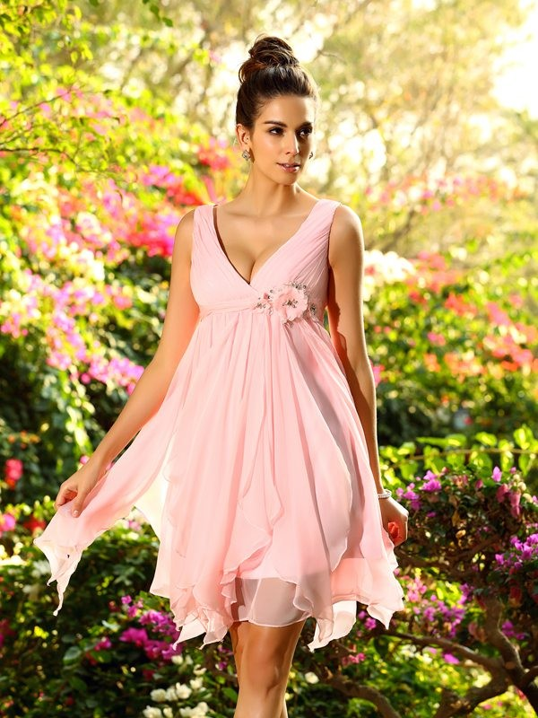 Time to Shine Princess Style V-neck Ruffles Short Chiffon Bridesmaid Dresses