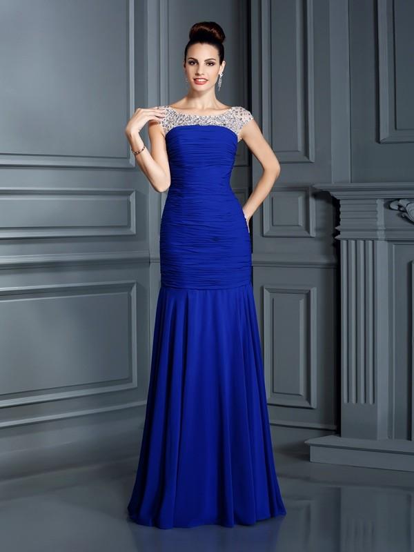 Pretty Looks Mermaid Style Scoop Beading Long Chiffon Dresses