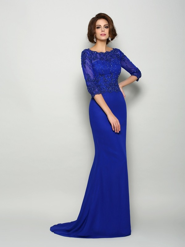 Too Much Fun Mermaid Style Scoop Beading Long Chiffon Mother of the Bride Dresses