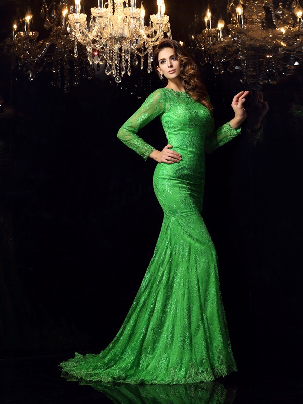 Dancing Queen Mermaid Style High Neck Applique Long Elastic Woven Satin Dresses