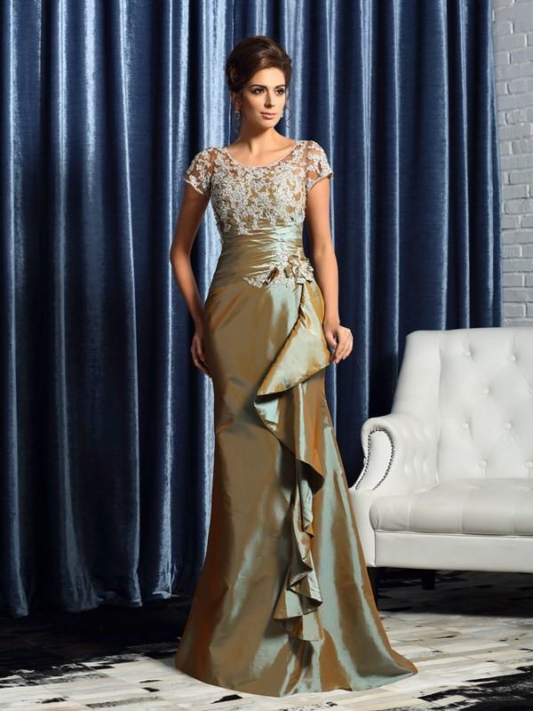 Romantic Vibes Mermaid Style Scoop Beading Applique Long Taffeta Mother of the Bride Dresses