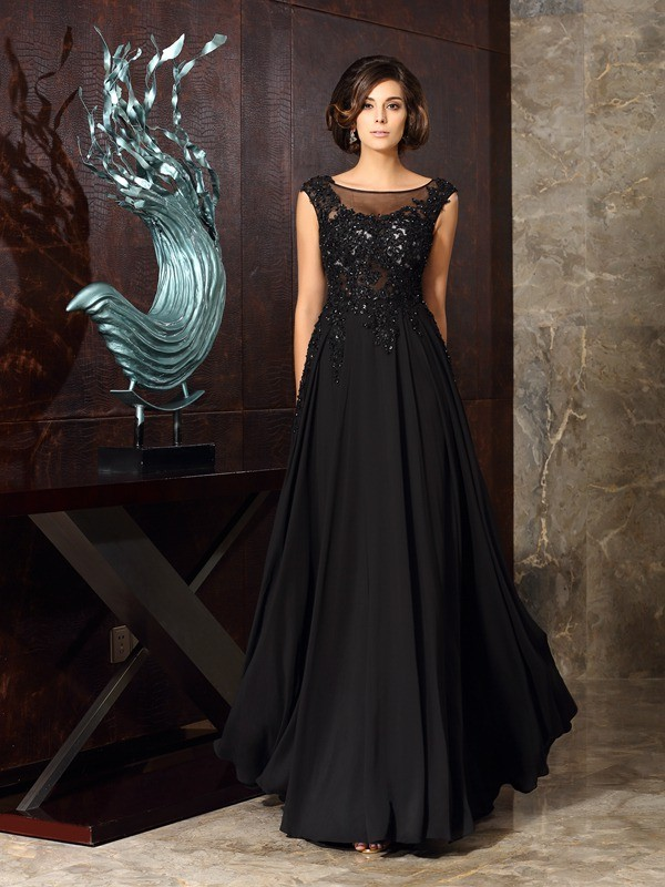 Treasured Reveries Princess Style Scoop Applique Long Chiffon Mother of the Bride Dresses