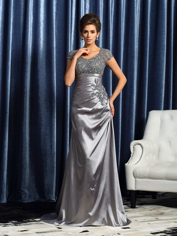 Creative Courage Mermaid Style Scoop Beading Long Taffeta Mother of the Bride Dresses