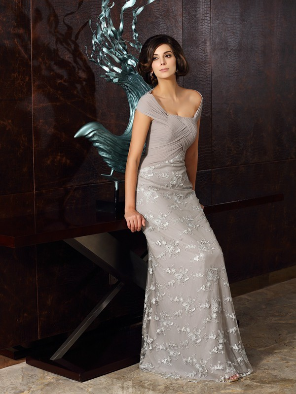 Pretty Looks Princess Style Off-the-Shoulder Applique Long Chiffon Mother of the Bride Dresses