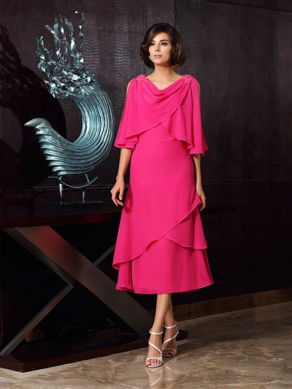 Too Much Fun Princess Style Scoop Short Chiffon Mother of the Bride Dresses