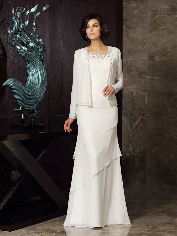 Memorable Magic Sheath Style Scoop Beading Long Chiffon Mother of the Bride Dresses