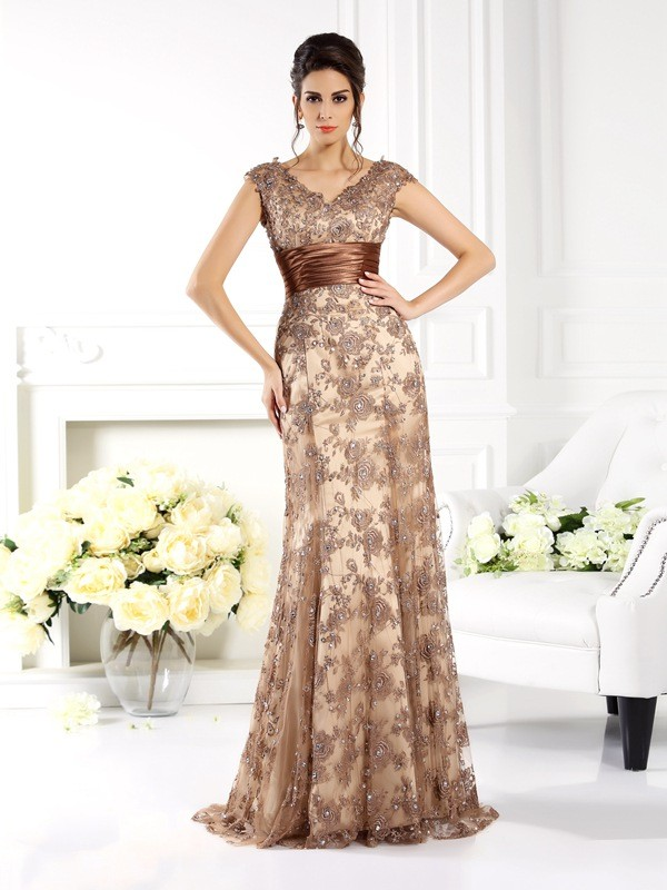 Lively Identity Princess Style V-neck Ruffles Long Lace Mother of the Bride Dresses