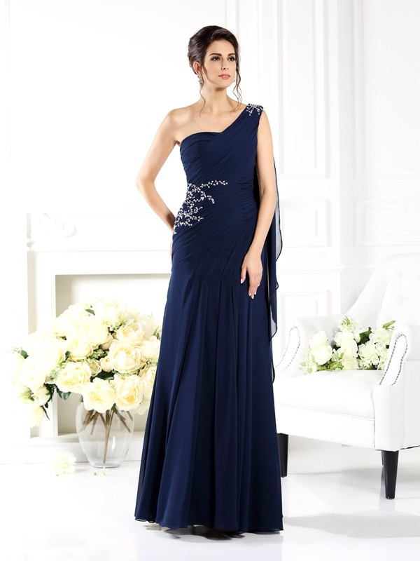 Pretty Looks Sheath Style One-Shoulder Long Chiffon Mother of the Bride Dresses