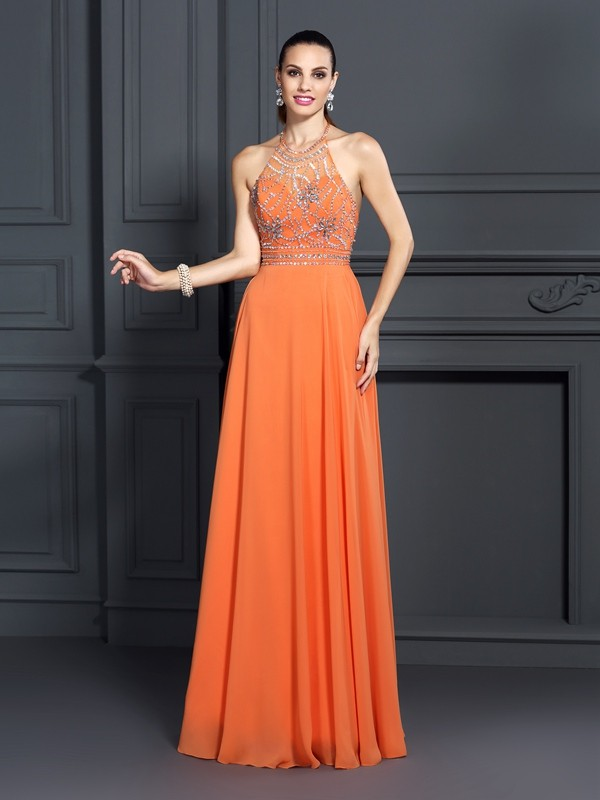 Easily Adored Princess Style Scoop Beading Long Chiffon Dresses