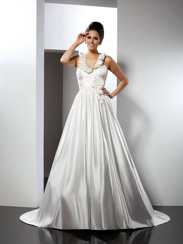 Aesthetic Honesty Princess Style Halter Hand-Made Flower Long Satin Wedding Dresses