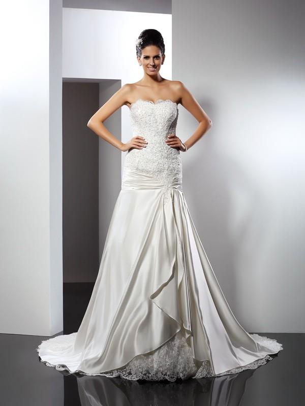 Chic Chic London Mermaid Style Sweetheart Applique Long Satin Wedding Dresses